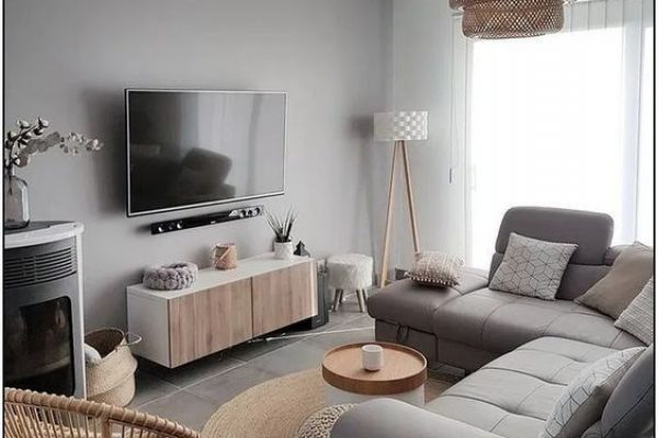 Cozy Minimalist Modern Grey and Beige Living _ TV Room with Rattan Boho Chandelier and Rattan Chair.Turnkey Property fitouts.livingroom.1